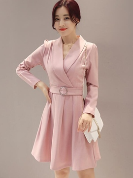 Ericdress Notched Lapel Belt Pleated A-Line Casual Dress