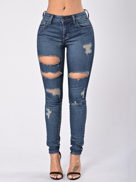 Ericdress Worn Holes Washable Skinny Jeans