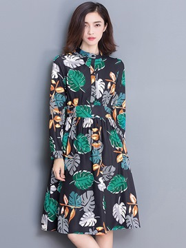 Ericdress Plant Print Pleated Stand Collar Button Casual Dress
