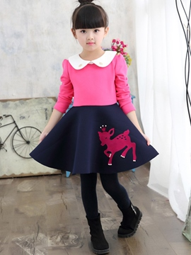 Ericdress Color Block Deer Print Doll Collar Girls Dress