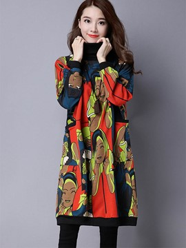 Ericdress Loose Printed Trench Coat