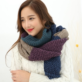 Ericdress Color Block Woolen Yarn Warm Scarf