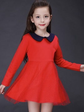 Ericdress Red Doll Collar Long Sleeve Girls Dress