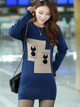 Ericdress Patchwork Mid-Length Knitwear