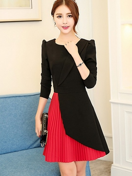 Ericdress Pleated Notched Lapel Patchwork Casual Dress