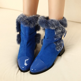 Ericdress Patchwork Buckle Point Toe Furry Ankle Boots