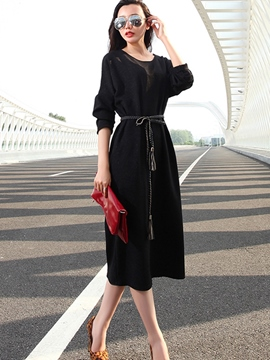 Ericdress Fashion Solid Color Belt Casual Dress