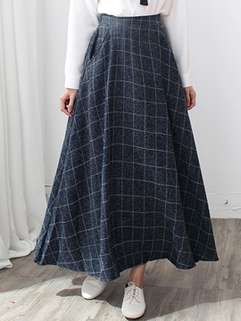 Ericdress Vintage Plaid Print Pleated Expansion Maxi Skirt
