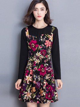 Ericdress Floral Print Spaghetti Strap Casual Dress