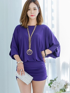 Ericdress Hole Button Patchwork Batwing Sleeve Bodycon Dress
