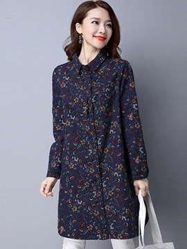 Ericdress Floral Print Mid-Length Blouse