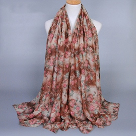 Ericdress Full Flowers Printed Voile Scarf