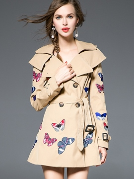 Ericdress Slim Butterfly Embroidery Trench Coat
