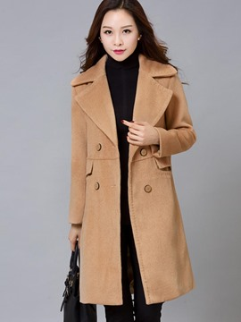 Ericdress Double-Breasted Polo Plain Slim Coat