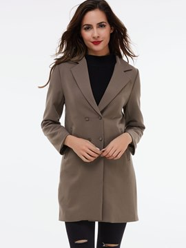 Ericdress Slim Two-Button Solid Color Coat