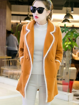 Ericdress Color Block Double-Breasted Polo Coat