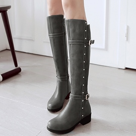 Ericdress Round Toe Rivets&buckles Thigh High Boots