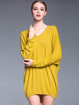Ericdress Plus Size Yellow T-Shirt