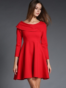 Ericdress Slash Neck Patchwork Pleated A-Line Casual Dress