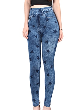 Ericdress Star Print Jean Leggings Pants