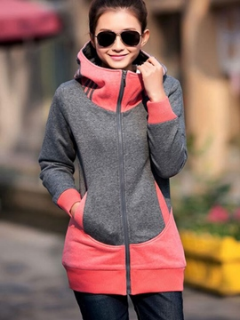 Ericdress Casual Color Block Stand Collar Hoodie