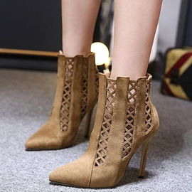 Ericdress Roman Cut Out Point Toe High Heel Boots