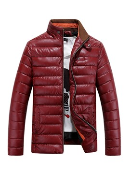 Ericdress PU Stand Collar Winter Warm Men's Jacket