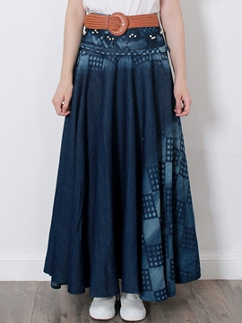 Ericdress Pleated Print Vintage Expansion Maxi Skirt