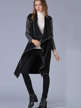 Ericdress PU Patchwork Wrapped Trench Coat