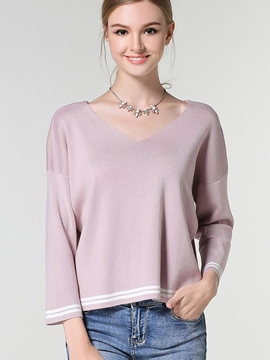 Ericdress Pink Cross Line Loose Knitwear