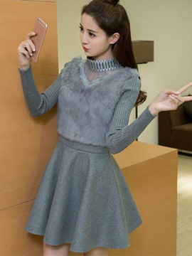 Ericdress Lace Patchwork Furry Stand Color Casual Dress