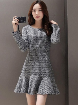 Ericdress Simple Falbala Patchwork Above Knee Casual Dress