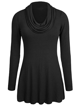 Ericdress Heap Neck Pleated T-Shirt