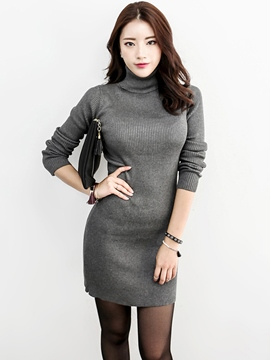 Ericdress Turtleneck Slim Solid Color Sweater Dress