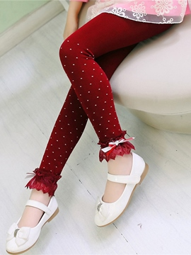 Ericdress Polka Dots Lace Thick Girls Leggings