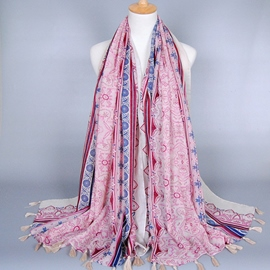 Ericdress Geometric Pattern Voile Pink Tassels Scarf