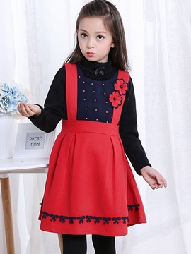 Ericdress Floral Bead Sleeveless Wool Girls Dress
