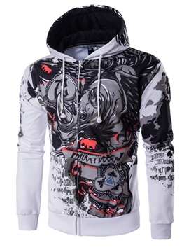 Ericdress Zip Cartoon Print Casual Men's Hoodie