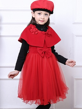 Ericdress Flower Bow Bead Sleeveless Girls Dress