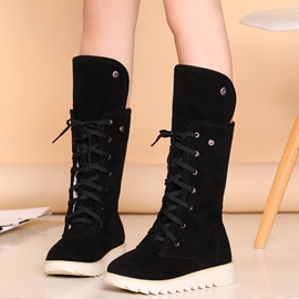 Ericdress Pretty Lace up Flat Boots