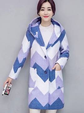 Ericdress Straight Pocket Plaid Hooded Coat