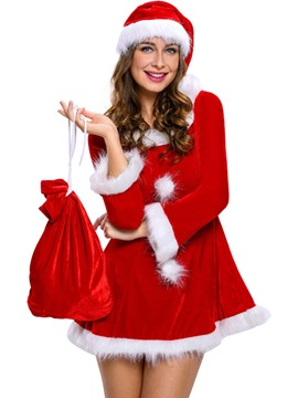 Ericdress Sexy Patchwork Pompon Santa Cosplay Christmas Costume