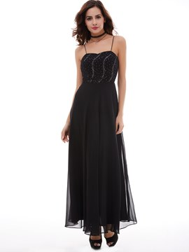 Ericdress Elegant A Line Spaghetti Straps Beaded Chiffon Ankle Length Evening Dress