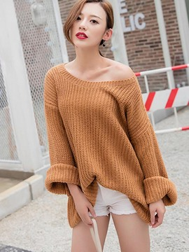 Ericdress Solid Color Flexible Loose Knitwear