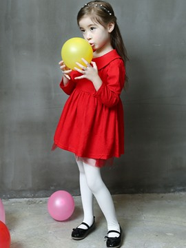 Ericdress Red Doll Collar Little Girls Dress