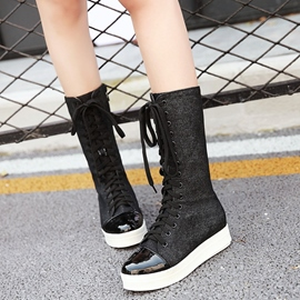 Ericdress Denim Patchwork Flat Boots
