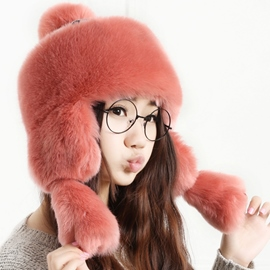 Ericdress Pure Color Warm Hairy Bomber Hat