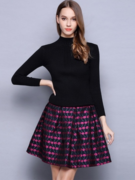 Ericdress Print Pleated Knitting Patchwork Casual Dress
