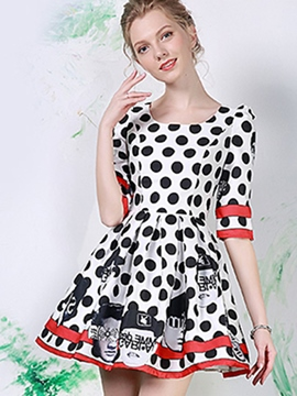 Ericdress Cute Cartoon Polka Dots Print Casual Dress