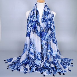 Ericdress Chic Blue Printed Tassels Scarf